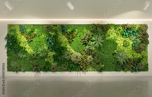 Fotografía Green wall in modern office building