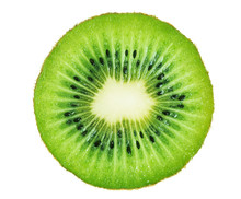 Slice Of Kiwi Fruit Isolated On White Background.