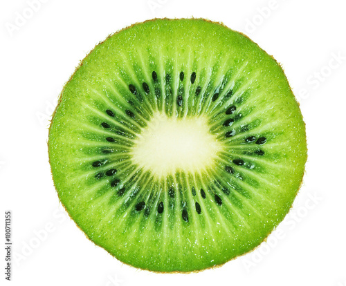 Valokuvatapetti Slice of kiwi fruit isolated on white background.