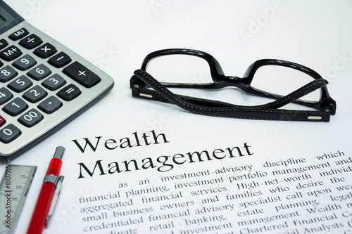 Fotografía  wealth management text of business concept background