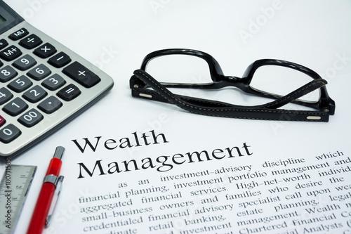 Fotografía  wealth management text of business concept background