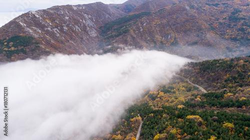 Plakat High Attitude Road In Mountain Z Dużą Mgłą Aerial View