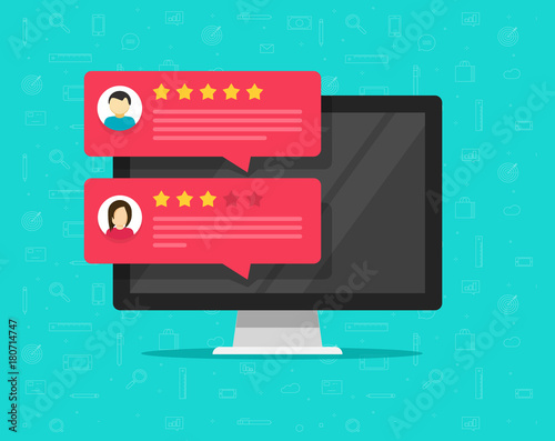 Cuadros en Lienzo Customer review rating messages on computer and vector, flat cartoon of desktop