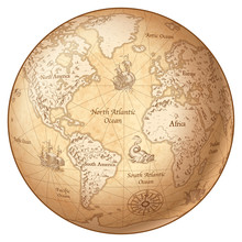 Vector Globe Vintage World Map