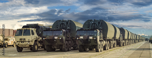 column of vehicles of the American army on the way to Central and Eastern Europe Canvas Print