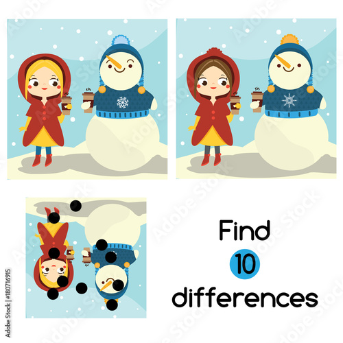 Find The Differences Educational Children Game Kids Activity Sheet With Girl And Snowman Winter