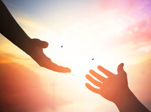 Silhouette Of Helping Hand Con...