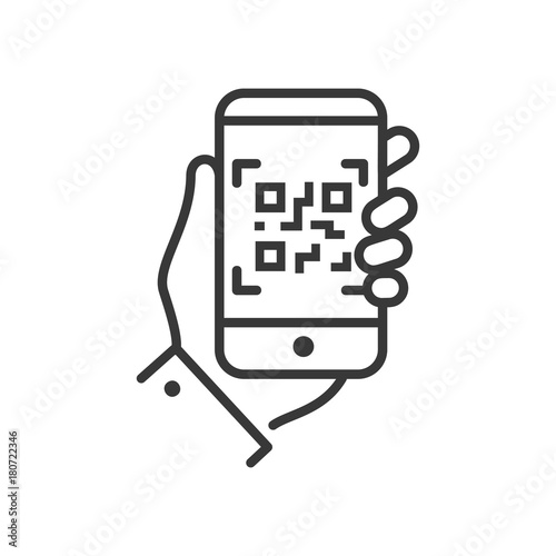 Valokuva  QR code scanner - line design single isolated icon