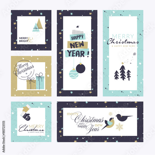 flat design style christmas and new year greeting cards vector illustration templates for greeting cards