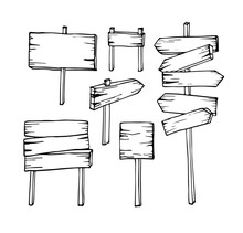 Vector Set Of Hand Draw Wooden Signboards Arrow Sign Empty Signboard