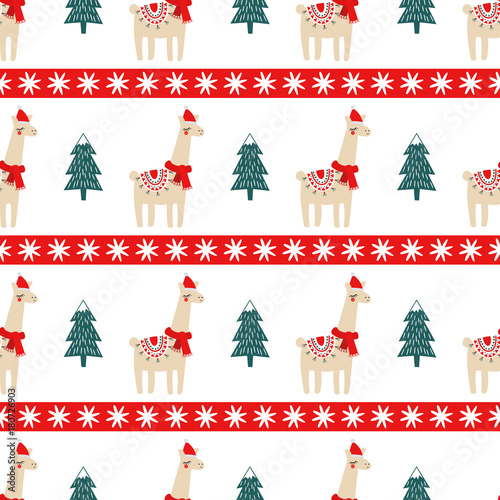 Christmas Tree And Cute Lama With Xmas Hat Seamless Pattern Vector Illustration For Kids