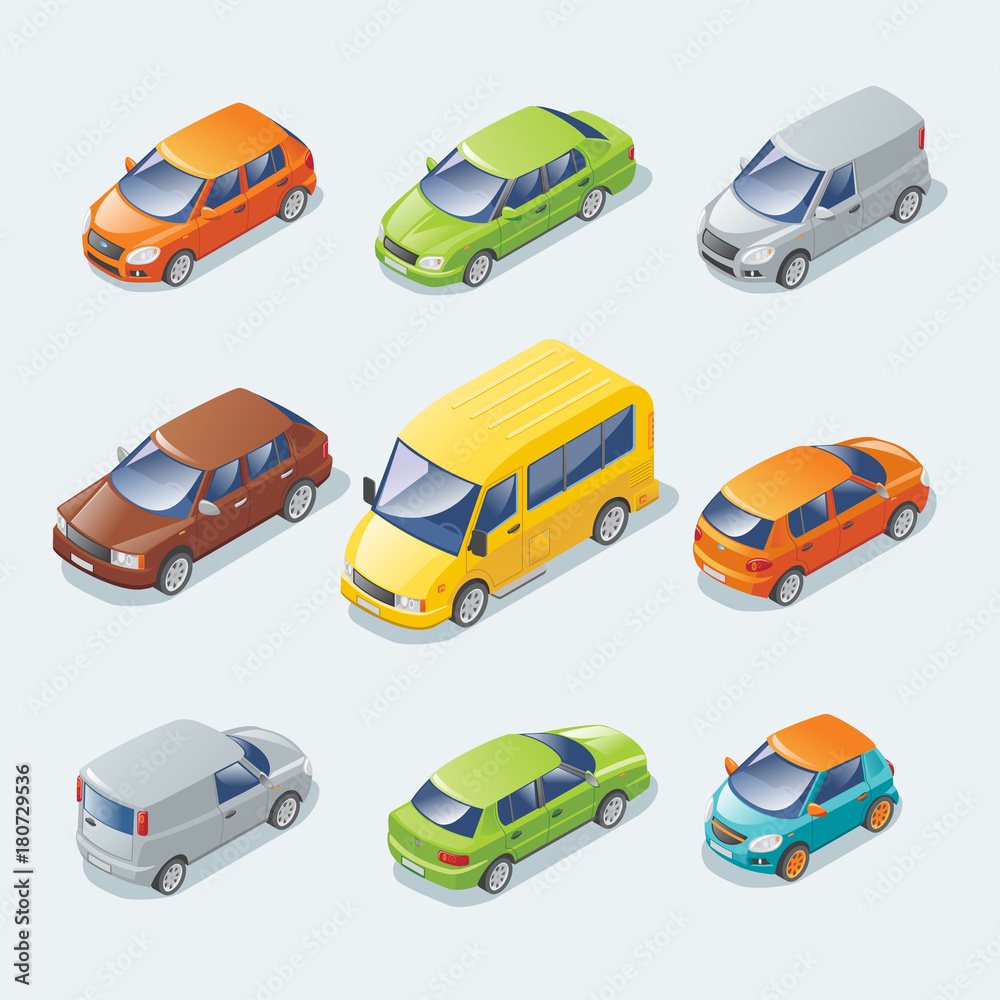 Isometric Modern Cars Collection <span>plik: #180729536 | autor: ivan mogilevchik</span>