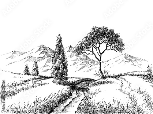 Field Landscape Pencil Drawing A Trail To The Mountains