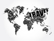 TRAVEL word in shape World Map Typography, words cloud business concept background