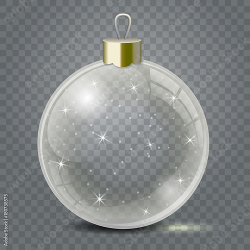 Deurstickers Bol Glass Christmas toy on a transparent background. Stocking Christmas decorations or New Years. Transparent vector object for design, mock-up.
