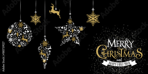 Fotografie, Obraz  Decorazione natalizie, glitter, oro