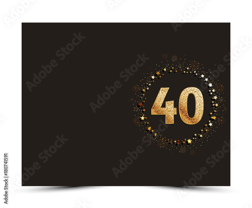 Fotografia  40 years anniversary decorated greeting / invitation card template with golden elements