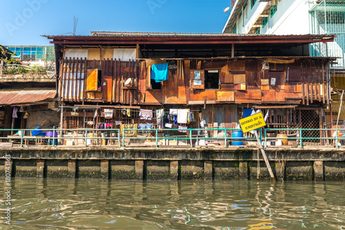 Residential area at the Khlong Saen Saep in the mid Bangkok. It exist a boat service with a water bus connecting the west side districts of Bangkok to the Chao Phraya River