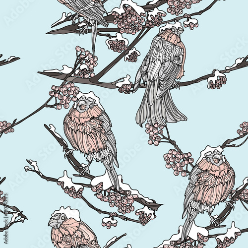 Cotton fabric Seamless pattern with bullfinches on the branches.