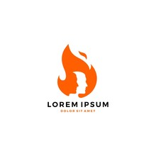 Man Fire Flame Logo