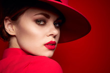 Beautiful Woman In A Red Hat C...