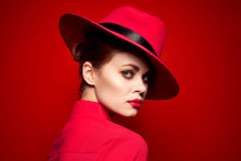 Beautiful Woman In Red Hat Por...