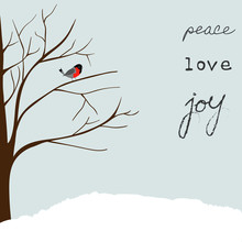 Winter Landscape Scene. Christmas New Year Greeting Card. Forest Falling Snow Red Capped Robin Bird Sitting On Tree. Blue Sky. Hand Lettering Peace Love Joy