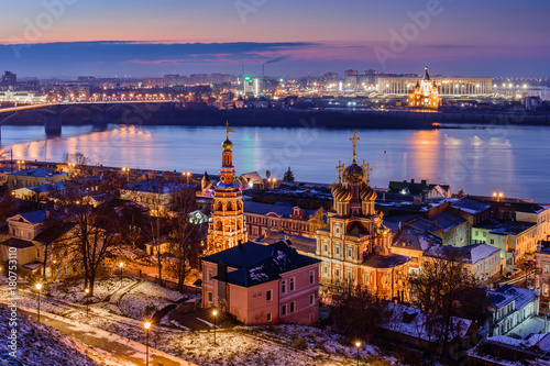In de dag Bruggen Beautiful panoramic view of the evening city near Kremlin with the Stroganov Church and Oka river. Nizhny Novgorod city, Russia.