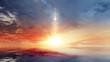Leinwandbild Motiv Dramatic sunset rays and clouds as background