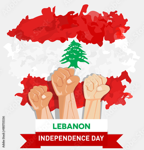 Poster  hand fist arm the symbol of Lebanon independence day and national awakening day