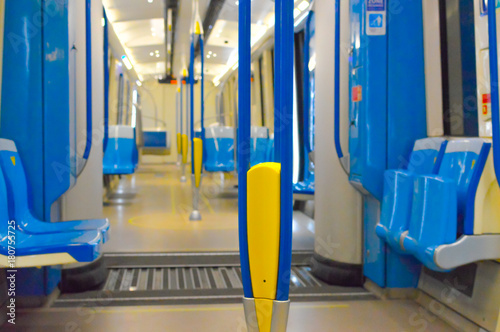 Inside of the new metro train in Montreal, Canada
