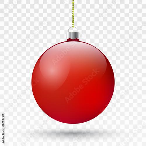 In de dag Bol Realistic red Christmas ball . Vector Xmas tree decoration.