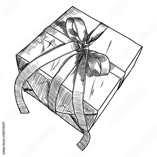 Gift Box Doodle Sketch Wedding Birthday Black Friday Concept Wrapped For Boxing New Year Christmas Idea Design Of Valentine Or Anniversary