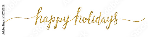 HAPPY HOLIDAYS banner in brush calligraphy
