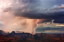 Lightning Strikes In The Grand Canyon During A Summer Storm At Grand Canyon National Park, Arizona, USA.