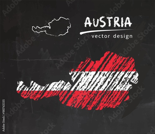 Obraz na płótnie Austria map with flag inside on the blackboard Chalk sketch vector illustration