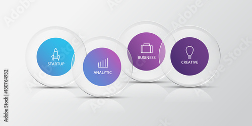 Cuadros en Lienzo Infographics with glass circles