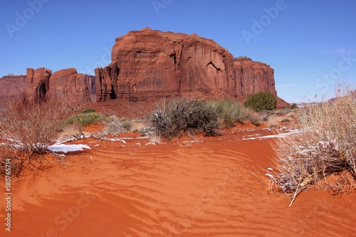 Spoed Foto op Canvas Koraal Red sand in the Monument Valley