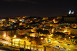 Scenic aerial view of Lisbon panorama by night