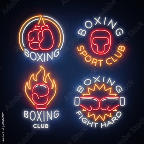 Boxing Sports Club set of logos in a neon style, vector