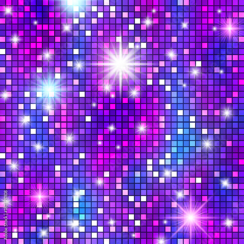 Fotografia, Obraz Disco ball party pattern, shining and gleaming squama mosaic texture for celebration banners, glamorous presentations, club style posters, events