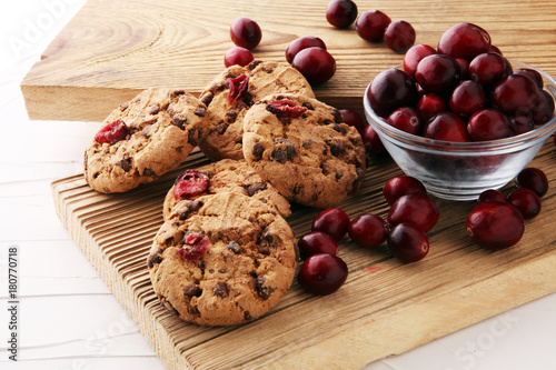 Fotobehang Koekjes delicious cranberry cookies with fresh cranberries for christmas.