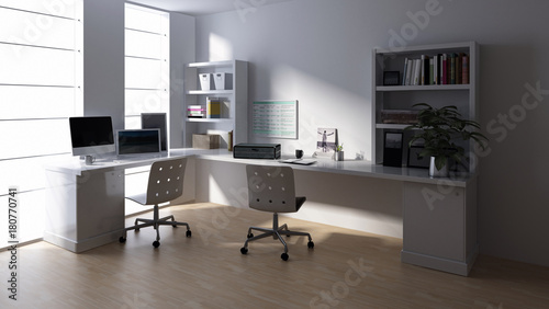 Empty workstation in office room - Buy this stock illustration and ...