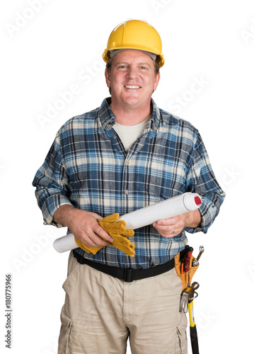 Fotografie, Obraz  Male Contractor With House Plans Wearing Hard Hat Isolated on White