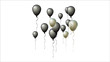 Black Friday Balloons Background. Black and Silver Noble Balloons Collection. Cool Vector Illustration for Business, Party, Birthday or Holidays. Rich VIP Premium Stylish Balloons Flying Up, Isolated