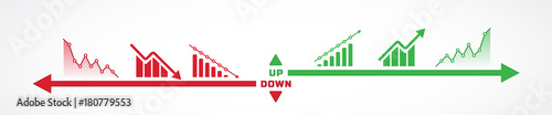 Fototapeta Horizontal design of charts icons going up and down obraz