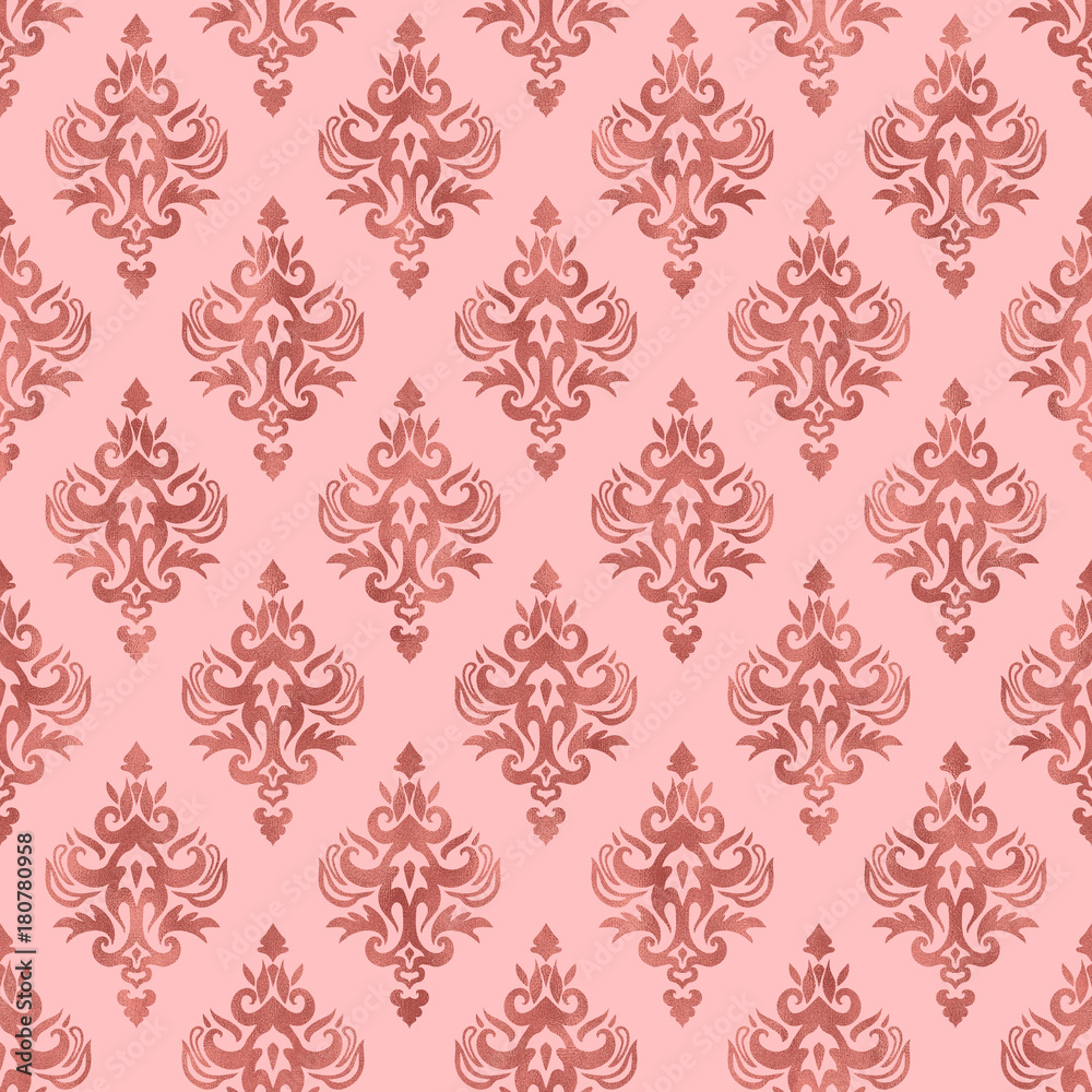 Pink and Rose Gold Foil Texture - Seamless Damask Pattern