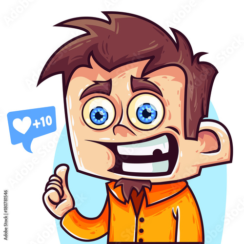 Cute Happy And Funny Cartoon Boy With Blue Eyes Show A Big Finger