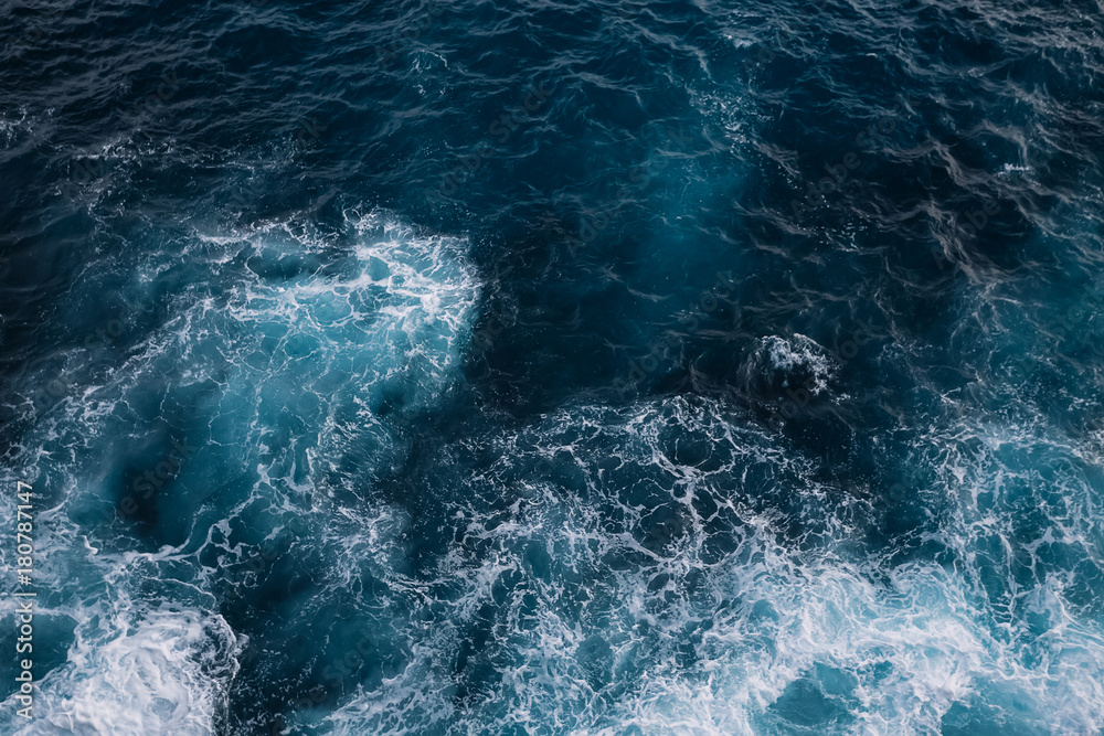 Fototapety, obrazy: Aerial view to ocean waves. Blue water background