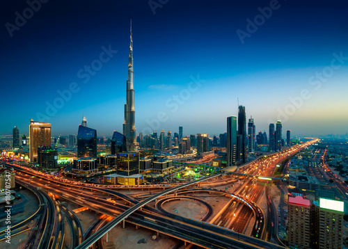 Amazing night dubai downtown skyline, Dubai, United Arab Emirates Wallpaper Mural